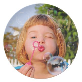 Girl Blowing Bubbles Melamine Plate