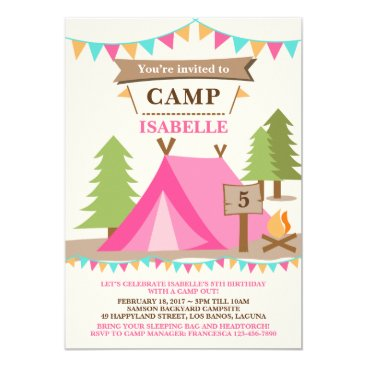 Girl Camping Tent Party Birthday Invitation