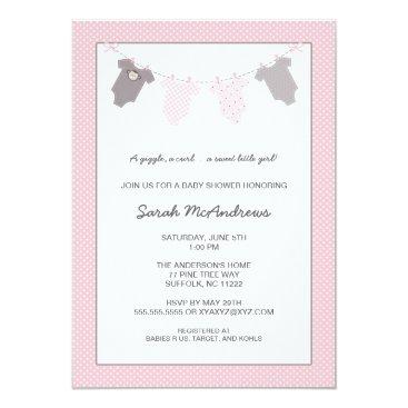 Girl Clothesline Baby Shower / pink grey Card