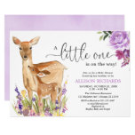 Girl deer purple floral woodland fawn baby shower invitation