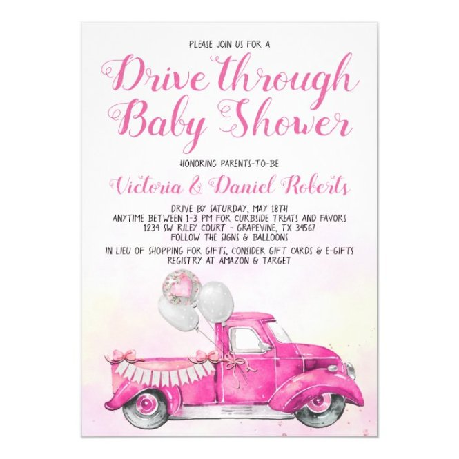 Drive Through Baby Shower Invitation