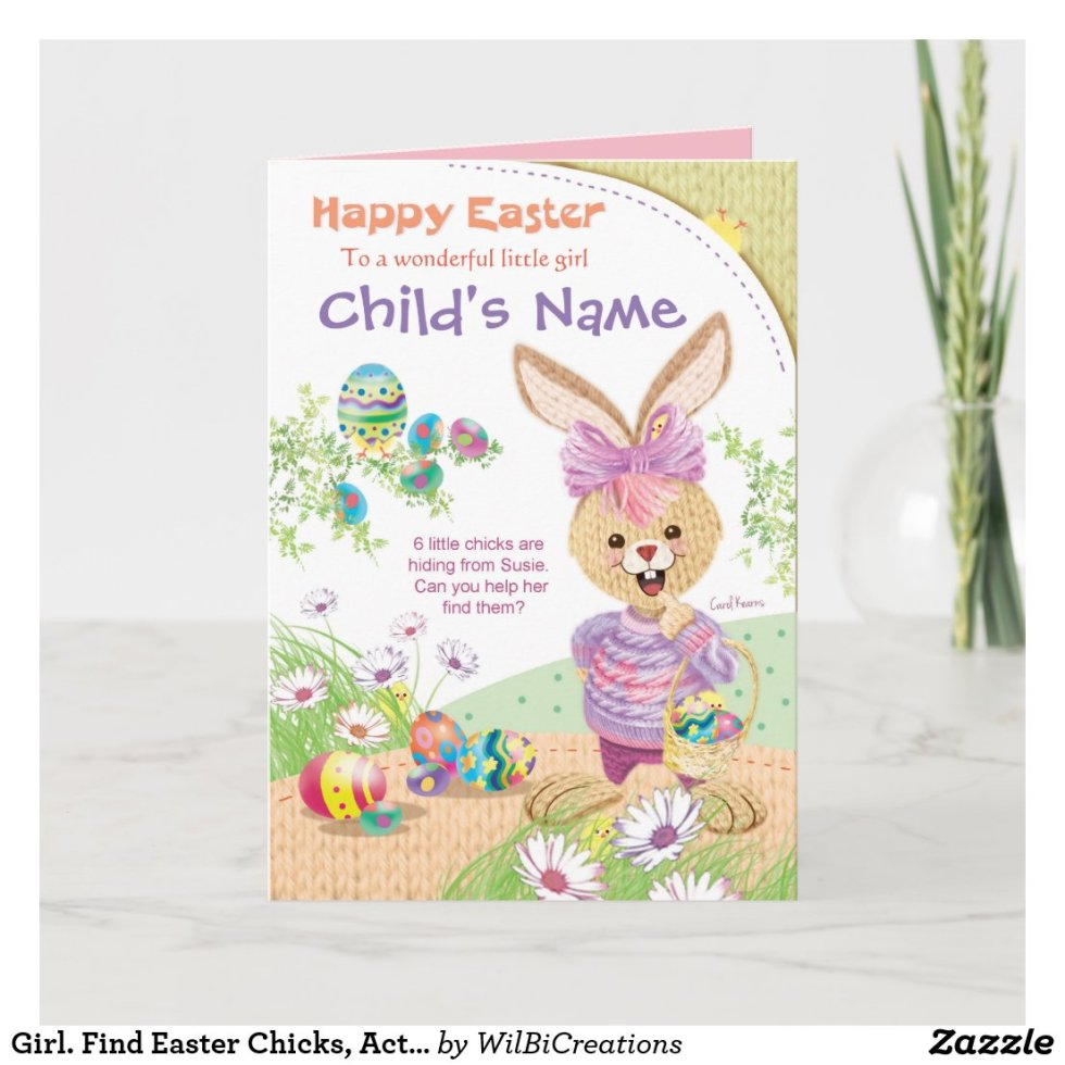 Girl. Find Easter Chicks, Activity Holiday Card