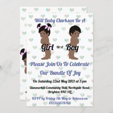 Girl or Boy Cute Ethnic Baby Gender Reveal Party Invitation