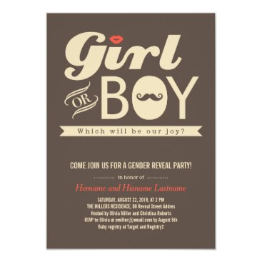 Girl or Boy Hip Baby Gender Reveal Party Invite