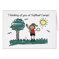 Girl Softball Camp Stick Figure Thinking of You Card