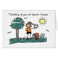 Girl Sports Camp Stick Figure Thinking of You Card