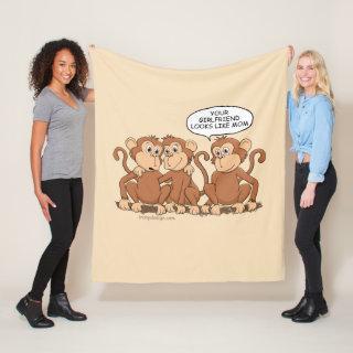 Girlfriend Looks Like Mom Funny Monkey Medium Fleece Blanket