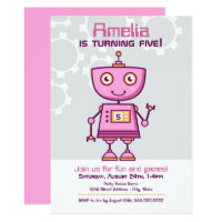 Girl's Birthday Invitations | Pink Robot Theme