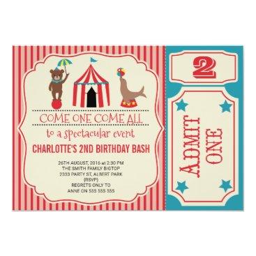 Girls Circus Ticket Birthday Party Invitation