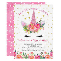 Girls Floral Faux Gold Unicorn Birthday Invitation