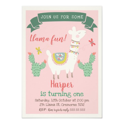 Girls Llama And cactus Birthday Invitation