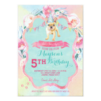 Girl's Puppy Dog Birthday Party Invitations