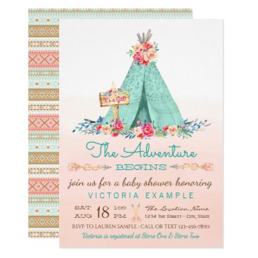 Girls TeePee Baby Shower Invitations