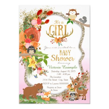 Girls Woodland Antler Baby Shower Invitation