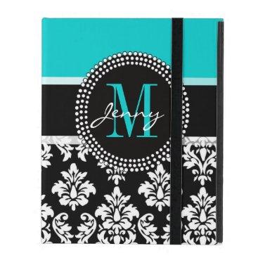 Girly Aqua Black Damask Your Monogram Name iPad Folio Case