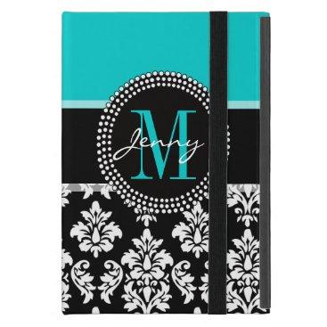Girly Aqua Black Damask Your Monogram Name iPad Mini Case