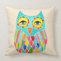 Girly Funky Modern Unique Owl Art Cushion Throw Pillows