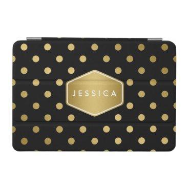 Girly Glitter Gold Polka Dots Pattern Black iPad Mini Cover