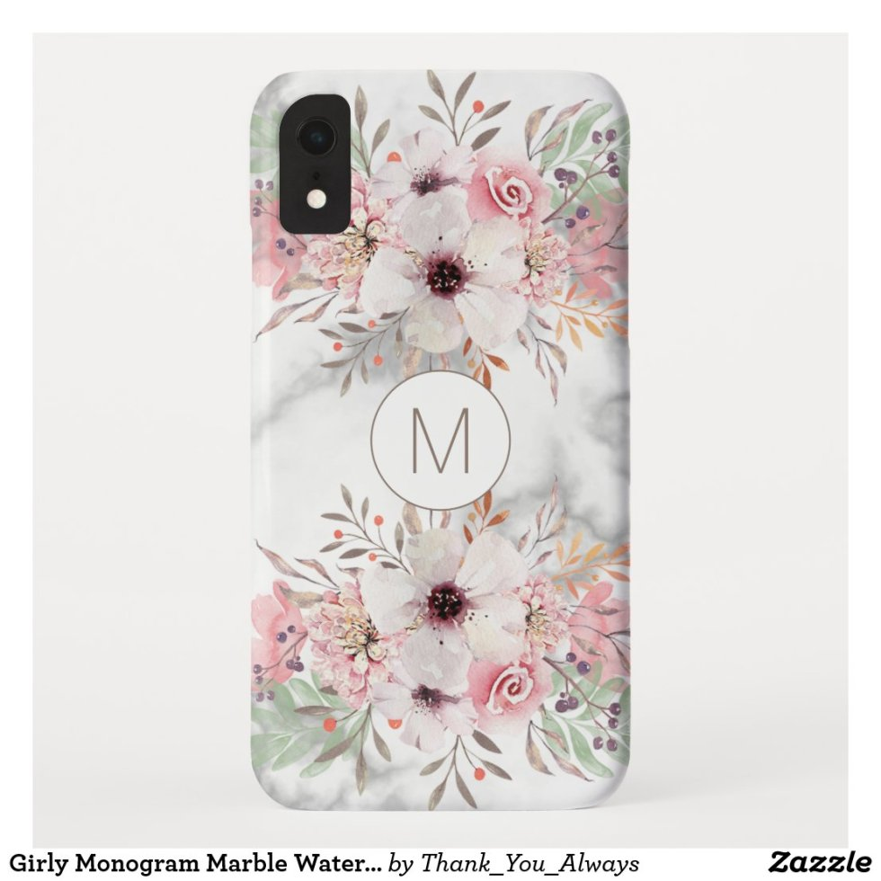 Girly Monogram Marble Watercolor Floral Case-Mate iPhone Case