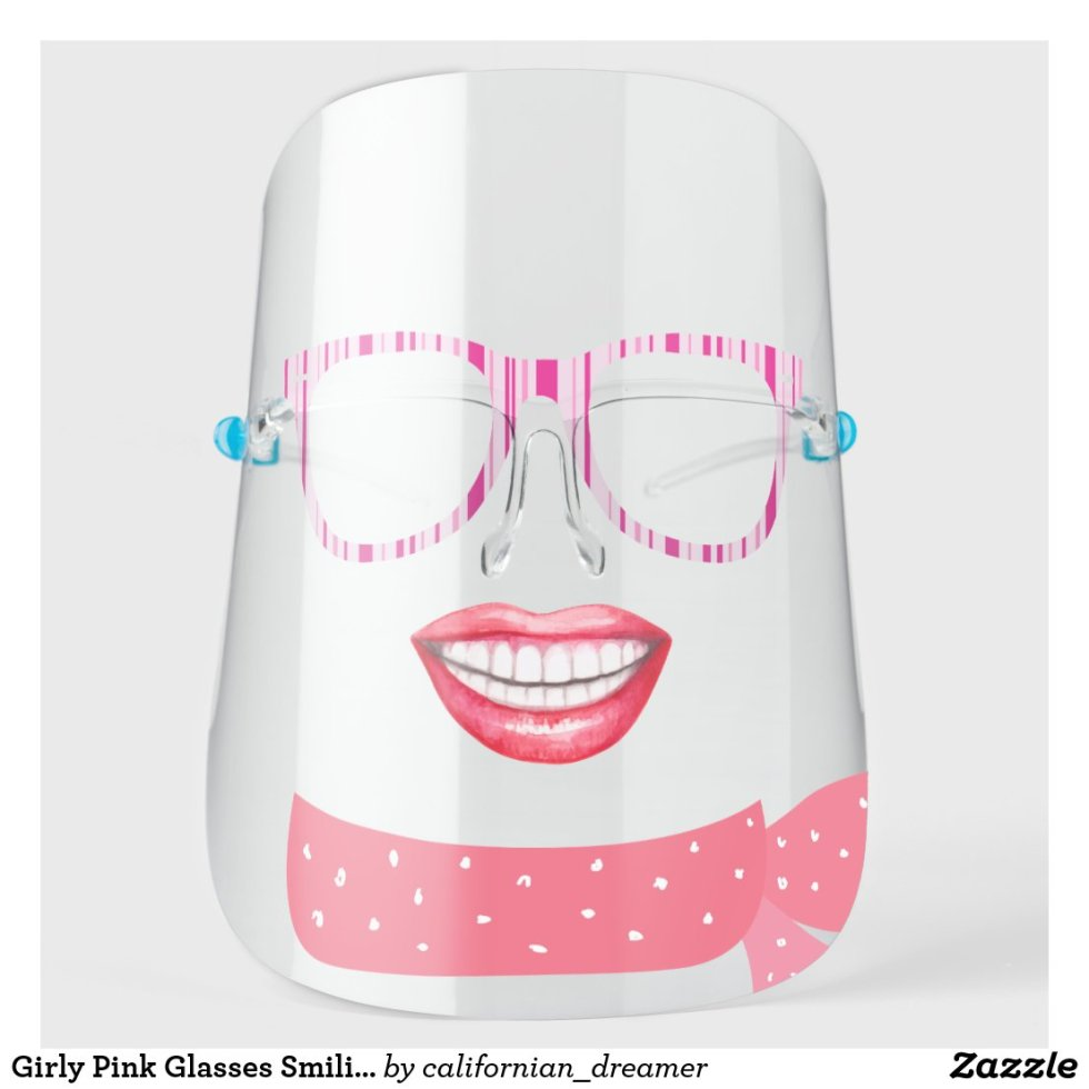 Girly Pink Glasses Smiling Face Shield