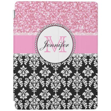 Girly, Pink, Glitter Black Damask Personalized iPad Smart Cover