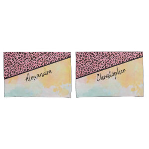 Girly Pink Leopard Spots Watercolor Add Names Pillow Case