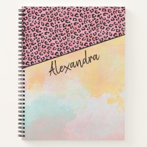 Girly Pink Leopard Watercolor Add Name Notebook