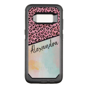 Girly Pink Leopard Watercolor Add Name OtterBox Commuter Samsung Galaxy S8 Case