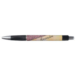 Girly Pink Leopard Watercolor Add Name Pen