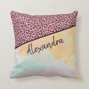 Girly Pink Leopard Watercolor Add Name Throw Pillow