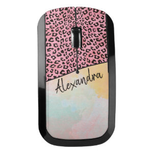 Girly Pink Leopard Watercolor Add Name Wireless Mouse