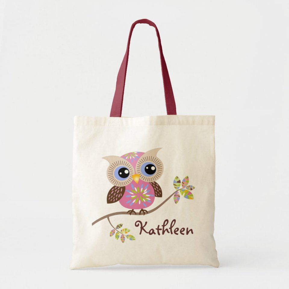 Girly Pink Owl Budget Personalized Tote