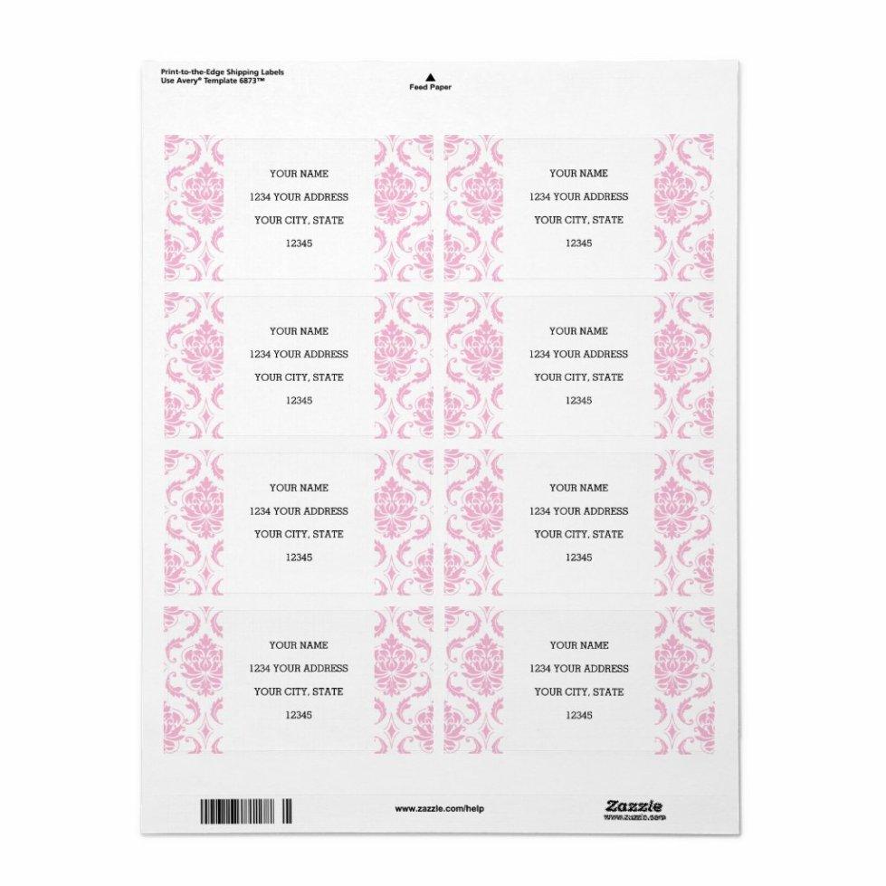 Girly Pink White Vintage Damask Pattern Label