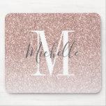 Girly Rose Gold Blush Pink Glitter Monogram Name Mouse Pad
