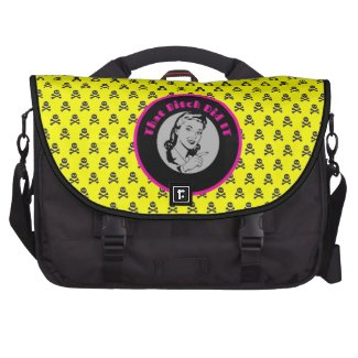 Girly skulls laptop commuter bag