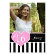GIRLY SWEET SIXTEEN PHOTO ANNOUNCEMENT