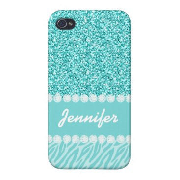 Girly, Teal Glitter, Zebra Stripes Personalized Cover For iPhone 4