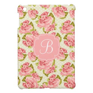 Girly Vintage Pink Roses Monogrammed iPad Mini Cover
