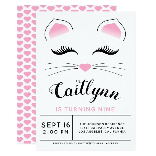 Glam Cat Birthday Party Invitation