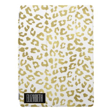 Glam Faux Gold Cheetah Print Personalized iPad Pro Cover
