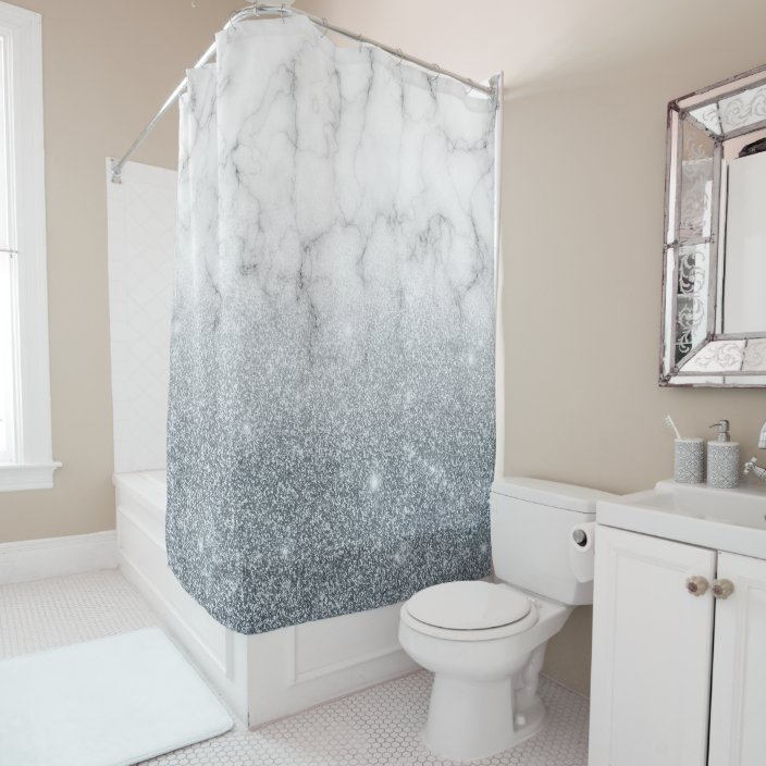 glam faux silver marble and glitter shower curtain zazzle com