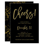 Glam Gold Script on Black | New Years Eve Party Invitation