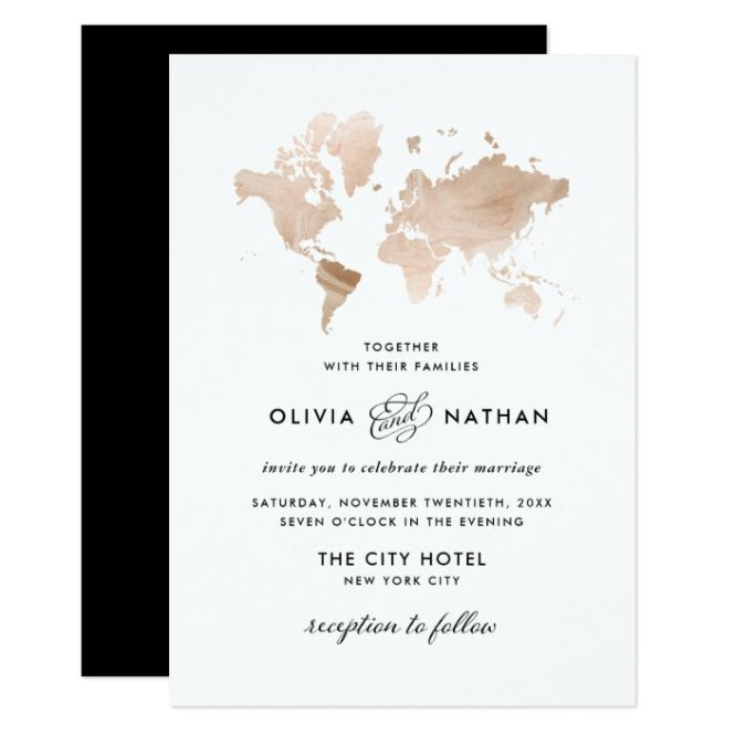 Elegant Travel Theme Wedding Invitation
