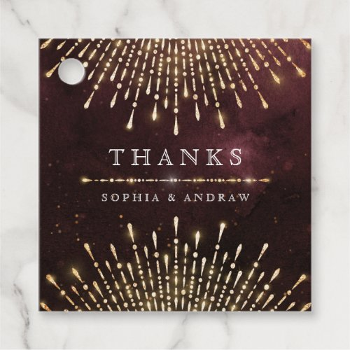 Glamour Art Deco Burgundy Vintage deco thank you Favor Tags