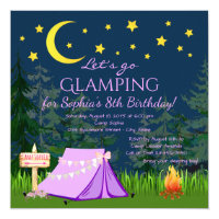 Glamping Birthday Party Invitations