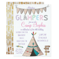 Glamping Themed Birthday Invitation