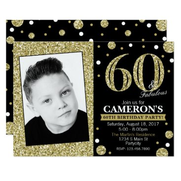 Glitter Adult Milestone Birthday Photo Invitation