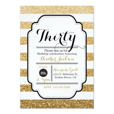"Glitter Birthday Invitation, 30th Birthday, 5""x7"" Card"