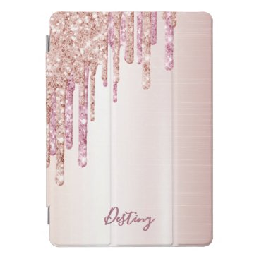 Glitter drip rose gold metallic name girly iPad pro cover