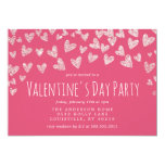 Glitter Hearts Pink Valentine's Day Party Invitation